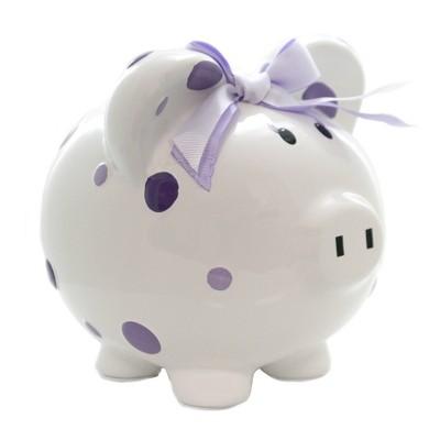 "Bank 7.75"" Purple Multi Dot Bank Piggy Money Saving  -  Decorative Banks"