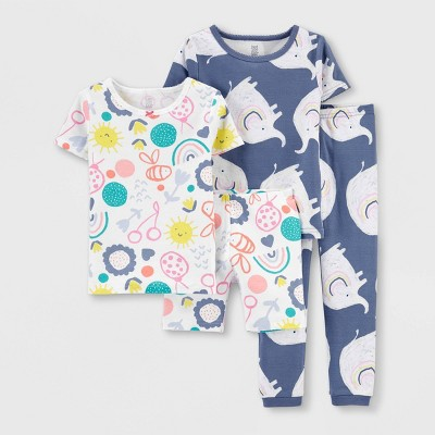 Toddler Girls' 4pc Doodle Elephant Pajama Set - Just One You® made by carter's Gray/Pink/Green