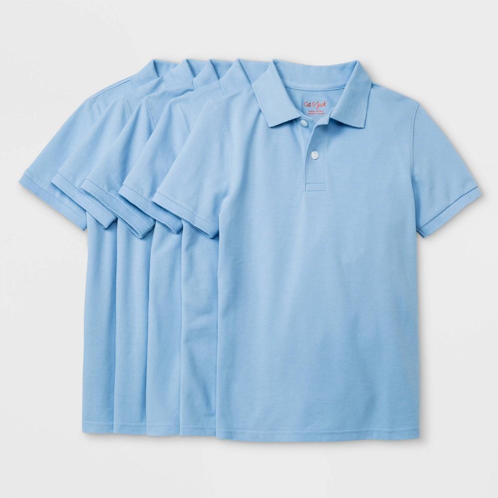 Boys 39 5pk Short Sleeve Uniform Polo Shirt Cat 38 Jack 8482 Light Blue Xl Husky
