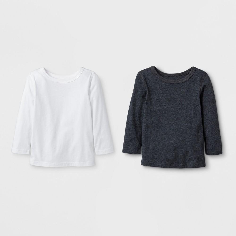 Toddler Boys' 2pk Adaptive Long Sleeve T-Shirt - Cat & Jack Black/White 3T, Gray