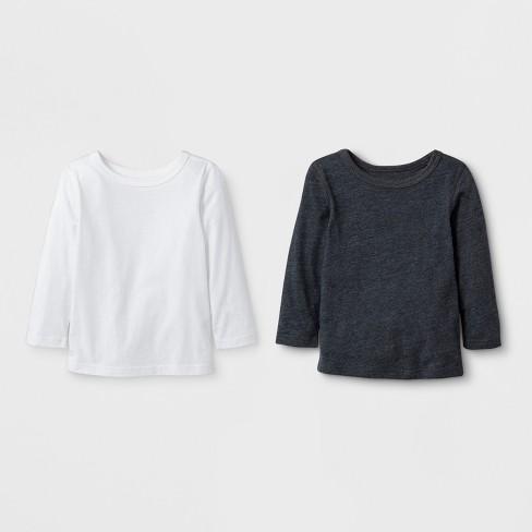 Toddler Boys' 2pk Adaptive Long Sleeve T-Shirt - Cat & Jack™ Black /White - image 1 of 1