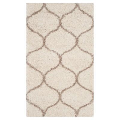 Ivory/Beige Abstract Shag/Flokati Loomed Area Rug - (5'1 X7'6 )- Safavieh®
