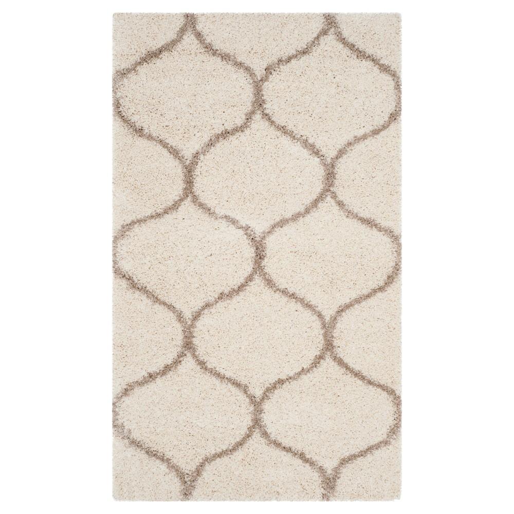 Ivory/Beige Abstract Shag/Flokati Loomed Area Rug - (5'1