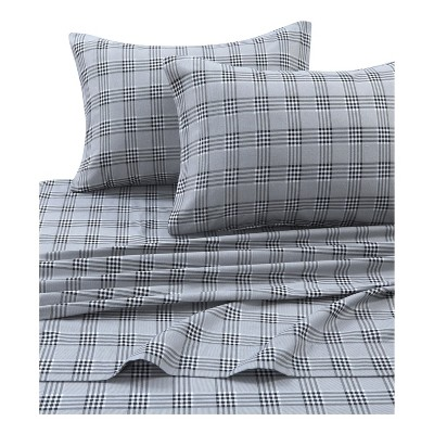 Tribeca Living Printed Cotton Flannel Extra Deep Pocket Sheet Set California King - Gray