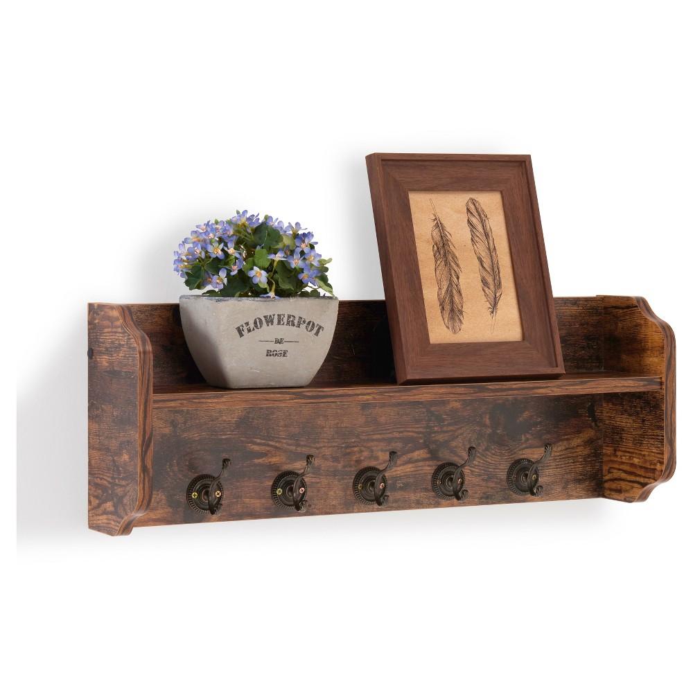 Image of Utility Wall Shelf with Hooks - Aged Wood - Danya B., Brown