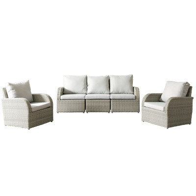 Merveilleux Brisbane 5pc Resin Wicker Sofa And Chair Patio Set With Weather Resistant  Fabric   CorLiving