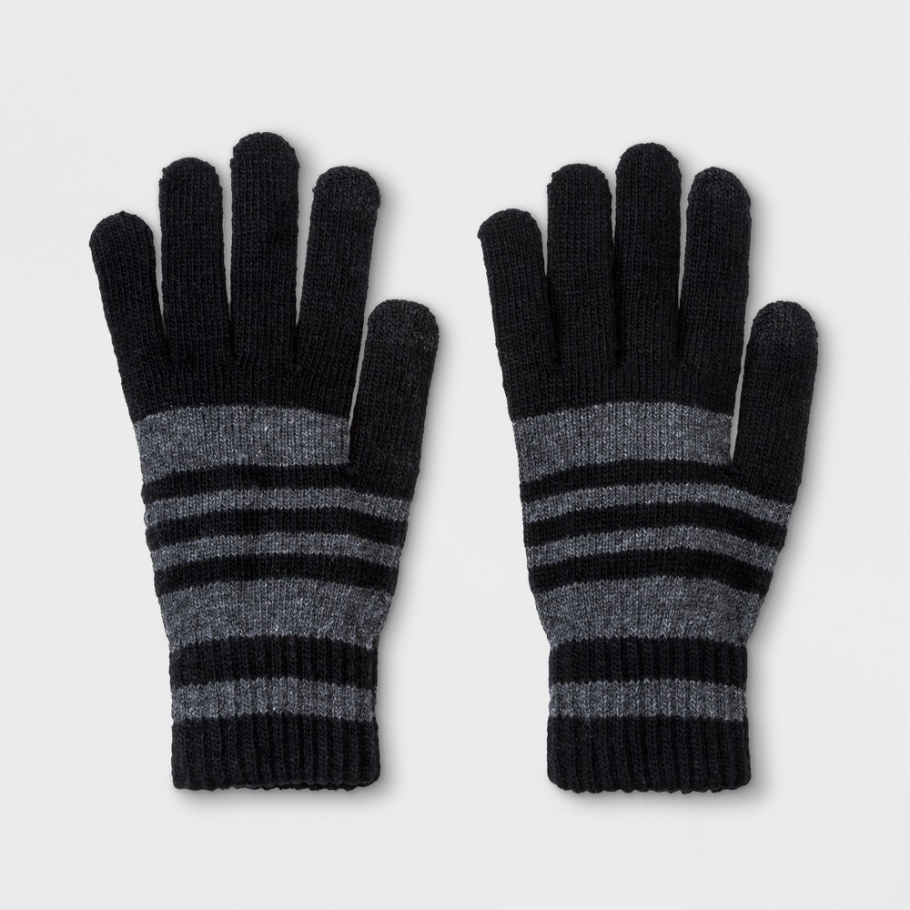 Men's Striped Touch Tech Gloves - Goodfellow & Co Black One Size