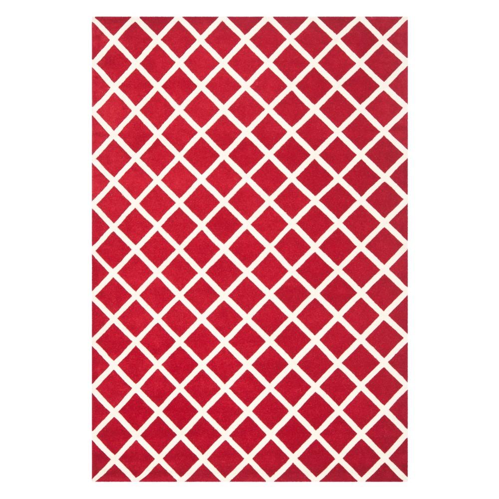 6'X9' Geometric Tufted Area Rug Red/Ivory - Safavieh