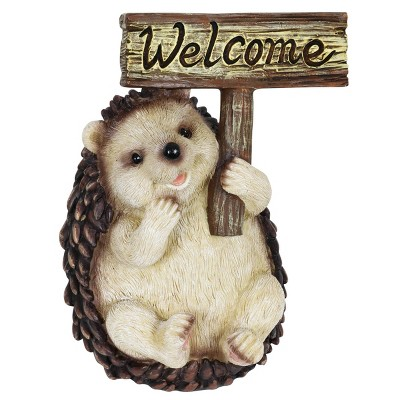"8.27"" Resin Welcome Sign Hedgehog Statue Pink - Exhart"