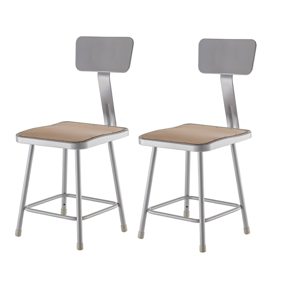 "Image of ""2pk 18"""" Heavy Duty Square Steel Stool with Backrest Gray - Hampton Collection"""