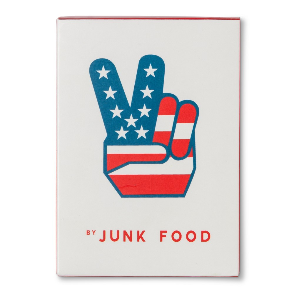 Junk Food Peace Sign Playing Cards - Red, White & Blue, Multi-Colored