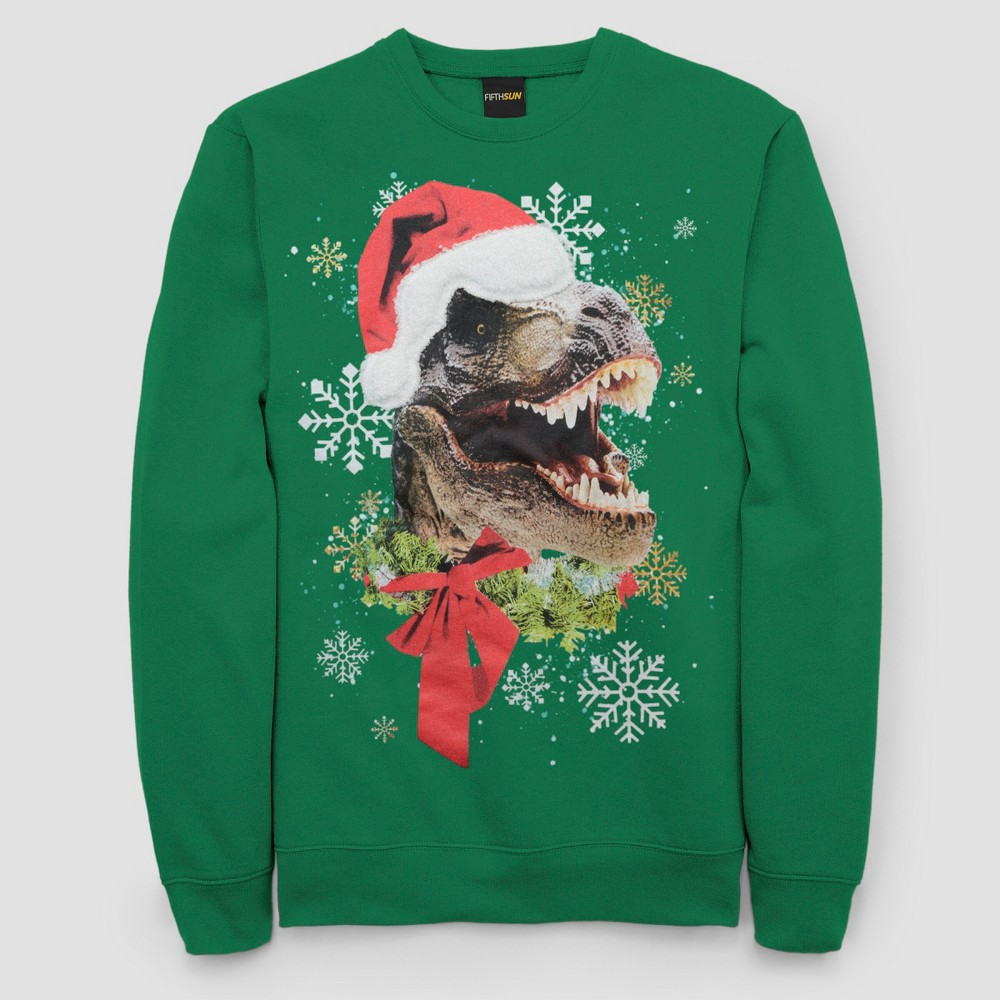 Men's Tall Ugly Holiday T-Rex Santa Long Sleeve Pullover Sweater - Kelly Green LT