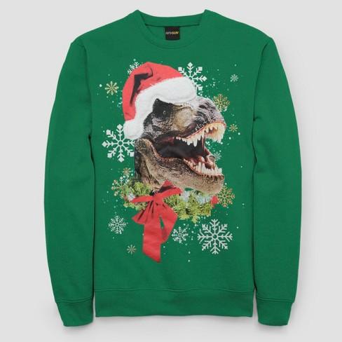 Mens Ugly Christmas T Rex Santa Long Sleeve Pullover Sweater