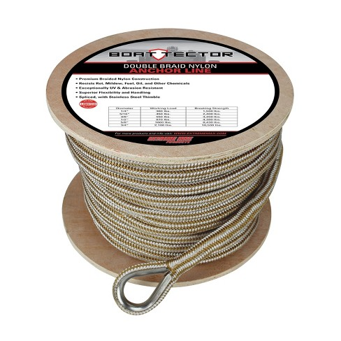 """Extreme Max 3006.2273 BoatTector 5/8"""" x 200' Double Braid Anchor Line w/ Timble - image 1 of 2"""