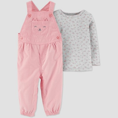 Baby Girls' 2pc Cat Overall and Pullon Shirt Set - Just One You® made by carter's Pink/Gray 3M
