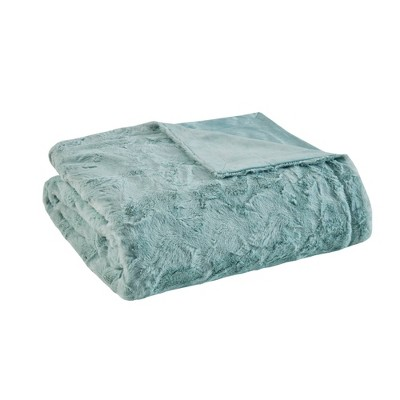 "60""x70"" Oversized Marselle Faux Fur Throw Blanket Aqua"