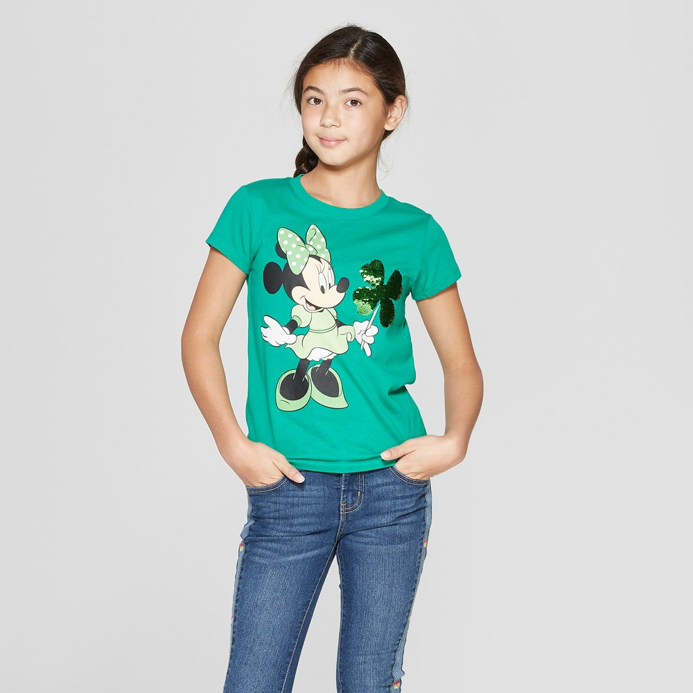Plus Size Girls' Minnie Mouse Flip Sequin St. Patrick's Day Short Sleeve T-Shirt - Green XL Plus
