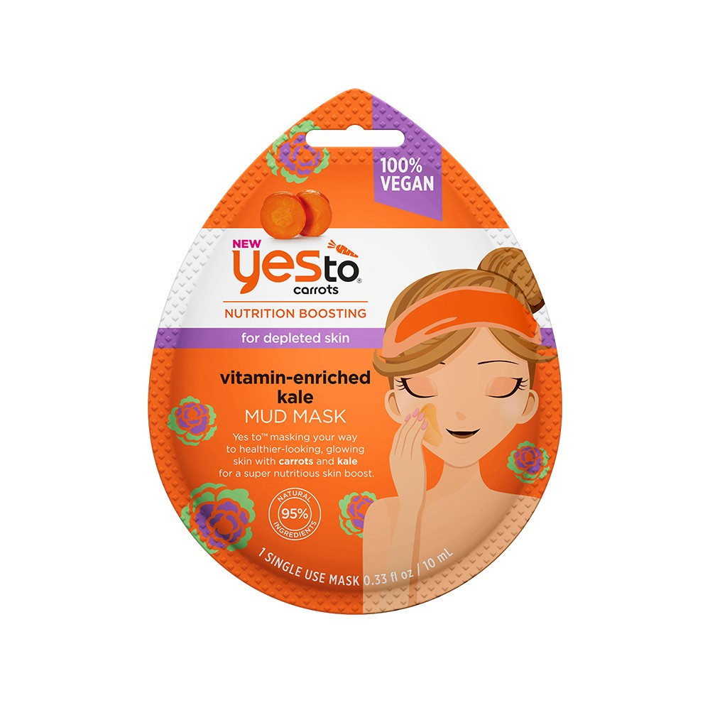 Yes To Carrots & Kale Single Use Mud Mask - 0.33 fl oz