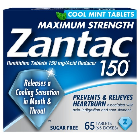 Zantac 150® Cool Mint Maximum Strength Sugar Free Acid Reducer Tablets - 65ct - image 1 of 1