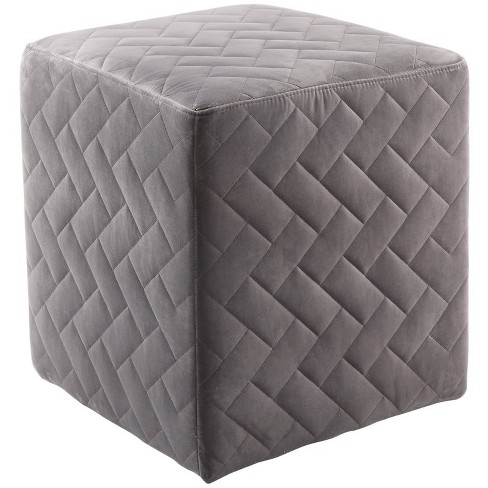 Micah Grey Velvet Cube Ottoman - Quilted - Upholstered in Gray - Posh Living - image 1 of 3