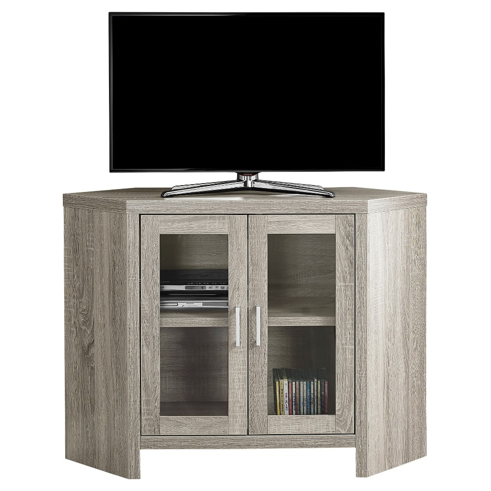 Corner TV Stand with Glass Doors Gray - EveryRoom