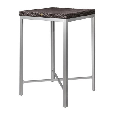 Russ Rattan Bar Table with Aluminum Legs - Lagoon