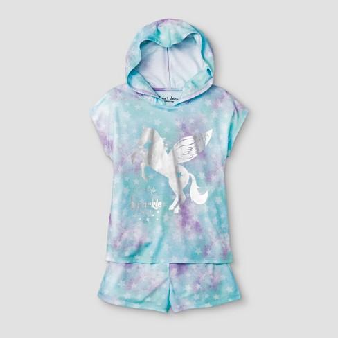 7cbc9f1fa Planet Sleep Girls  Unicorn 2pc Hooded Pajama Set - Blue   Target