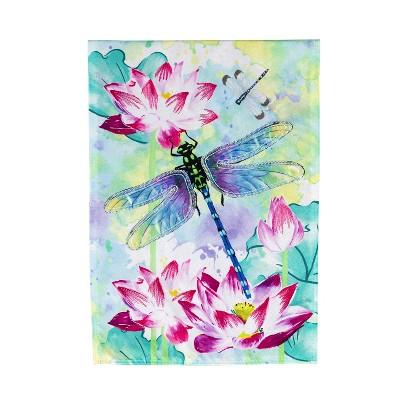 Evergreen Flag Dragonfly With Lotus Garden Linen Flag