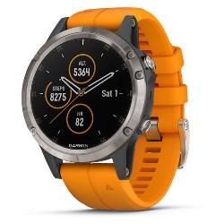 Garmin Fenix 5 Plus Sapphire Watch - Titanium/Orange