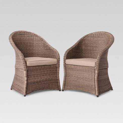 Holden 2pc Wicker Patio Dining Chair Set Tan Threshold Target