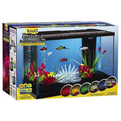 Tetra ColorFusion Bubbling LED Aquarium Kit 5 Gallons, With Bubbler And Color-Changing Light Disc