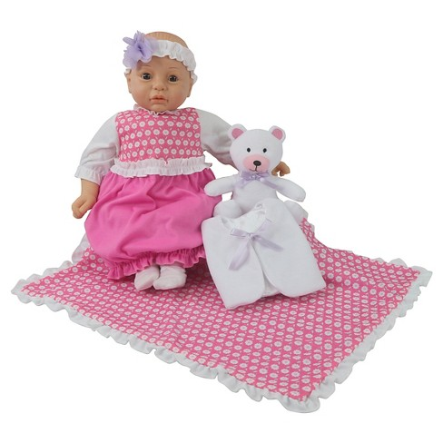 "Gingham and Button 18"" Caucasian Newborn Baby Doll Sleep Sack Set - image 1 of 6"