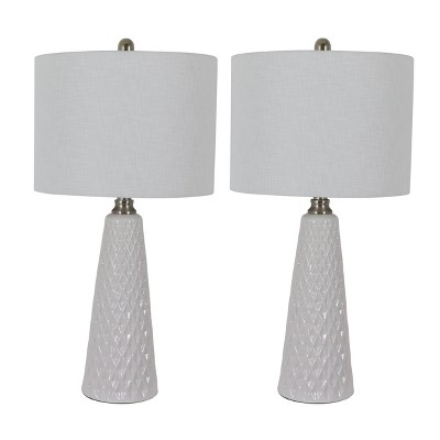 """26"""" Set of Two Jameson Textured Ceramic Table Lamp White - Decor Therapy"""