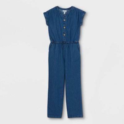Girls' Button-Front Short Sleeve Jumpsuit - Cat & Jack™