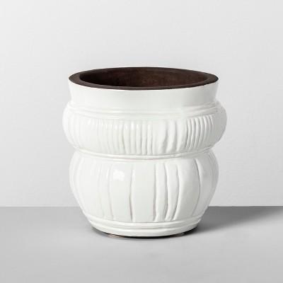 6  x 5.5  Etched Terra Cotta Planter White - Opalhouse™