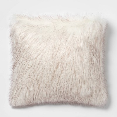 Tipped Faux Fur Square Throw Pillow Cream/Brown - Threshold™