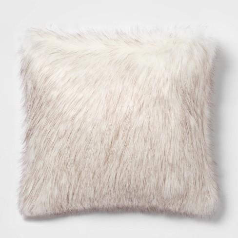 Tipped Faux Fur Square Throw Pillow Cream/Brown - Threshold™ - image 1 of 4