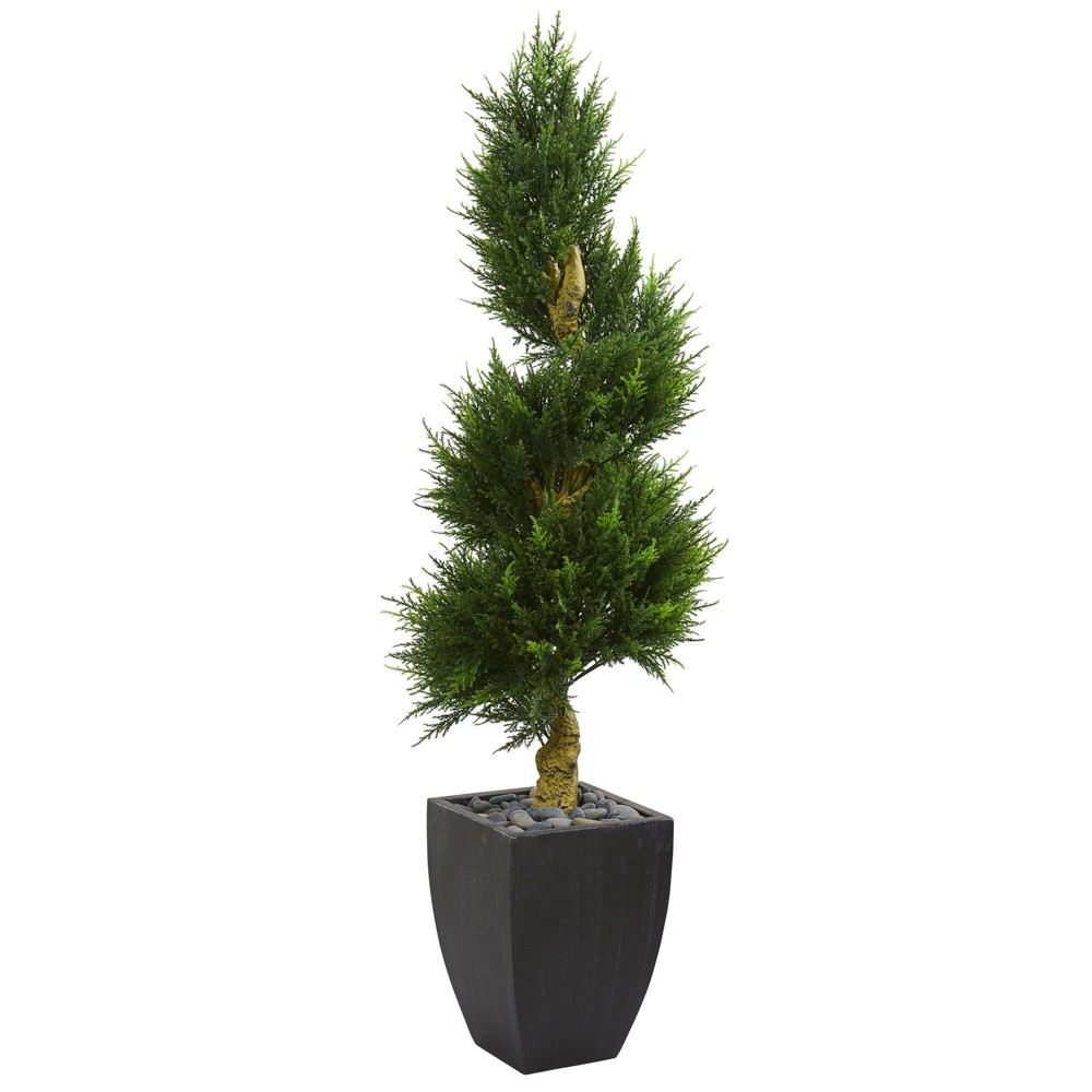 5.5ft Cypress Spiral Artificial Tree In Black Planter - Nearly Natural, Green