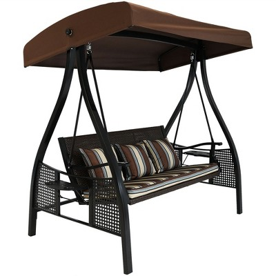Sunnydaze Outdoor Deluxe Patio Swing with Canopy Shade, Cushions and Side Tables, Brown Stripe