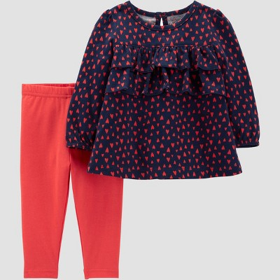 Baby Girls' 2pc Red Hearts Pant Set - Just One You® made by carter's Navy Blue/Orange Newborn