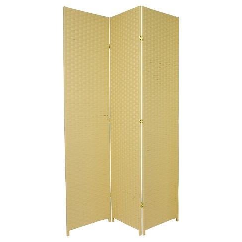 7 Ft Tall Woven Fiber Room Divider Dark Beige 3 Panels Target