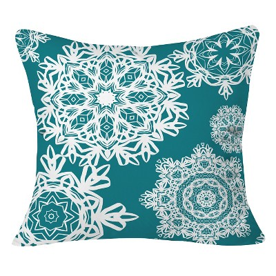 Deep Turquoise Flurries Throw Pillow (20 x20 )- Deny Designs®