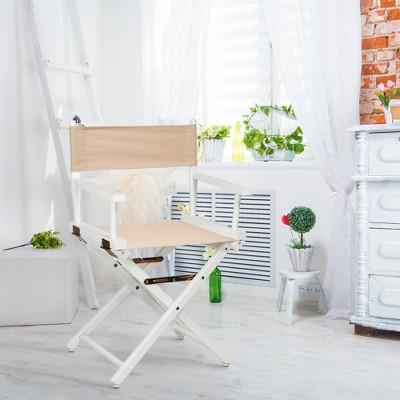 Tan White Frame Director's Chair