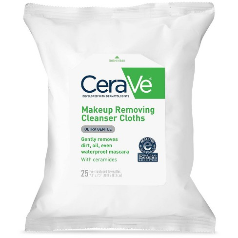 CeraVe Makeup Remover Cleansing Cloths Ultra-Gentle Wipes with Ceramides - 25ct - image 1 of 3