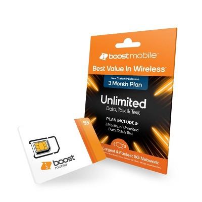Boost Preloaded SIM Card Unlimited Data 3 Month