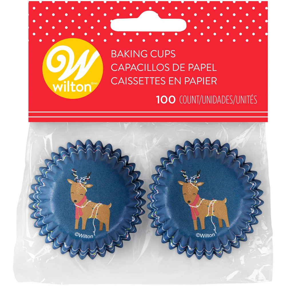 100pk Disposable Reindeer Holiday Baking Cups Blue - Wilton, Brown