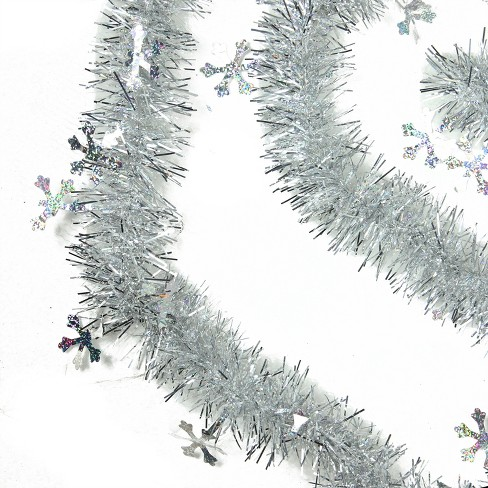 Northlight 50 X 2 75 Unlit Silver With Holographic Snowflakes 6 Ply Tinsel Christmas Garland Set Of 3
