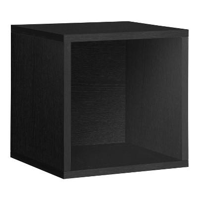 Way Basics Eco Stackable Vinyl Record Storage Cube Black Wood Grain