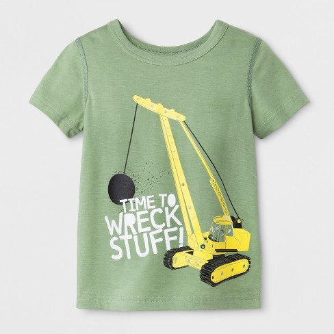 Toddler Boys' Adaptive Short Sleeve Time to Wreck Stuff Graphic T-Shirt - Cat & Jack™ Olive - image 1 of 1