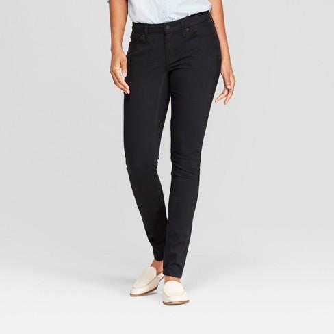 Women's Mid-Rise Curvy Skinny Jeans - Universal Thread™ Black Wash - image 1 of 3